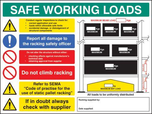 Swl Pallet Racking Sign 5mm Foamex 600x450mm 56355