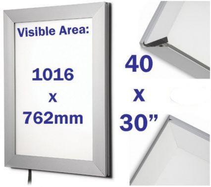 edge lit light box snap poster frame 30 x 40 inch locking poster cabinets security safety. Black Bedroom Furniture Sets. Home Design Ideas