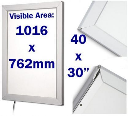 led large snap frame light box 30 x 40 inch locking poster cabinets security safety products. Black Bedroom Furniture Sets. Home Design Ideas