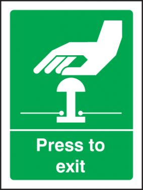 Press To Exit Sign Self Adhesive Vinyl 100 X 75mm 2067