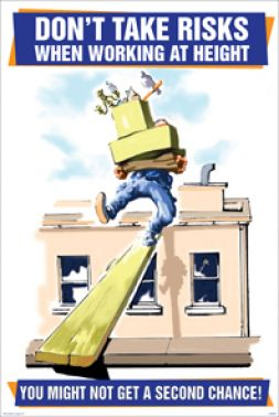 Don T Take Risks When Working At Height Cartoon Safety