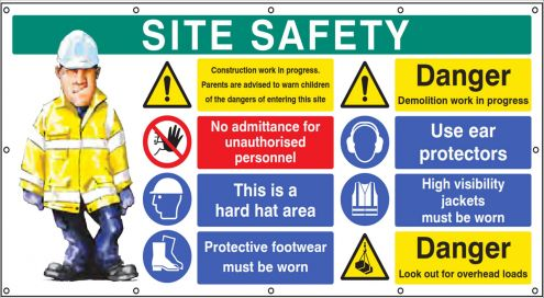 Site Safety Banner Sign 2440x1270mm Personal Protective