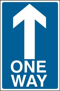 One Way Road Sign Straight On Up 600x450mm Aluminium