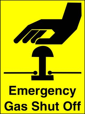 Emergency Gas Shut Off 150x200mm Aluminium Safety Signs