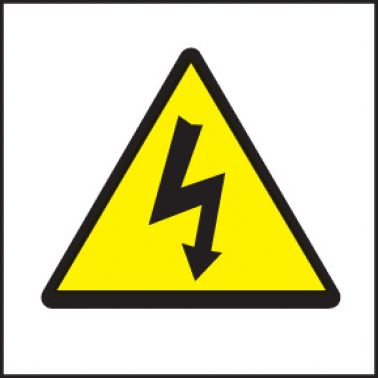 Electricity Symbol Sign Self Adhesive Vinyl 200 X 200mm