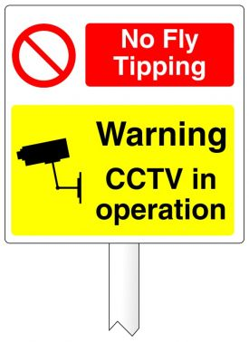 No Fly Tipping CCTV Camera Dibond sign on a post ...