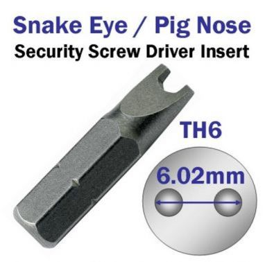 Snake Eye Security Screw Driver Insert Th6 Security