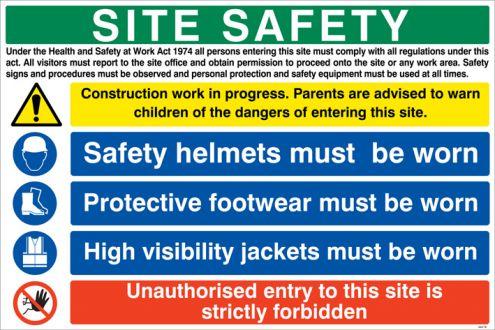 Site Safety Board Sign 600x900mm Rigid Plastic 6447