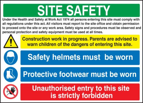 site safety board h s act sign 600x900mm rigid plastic. Black Bedroom Furniture Sets. Home Design Ideas
