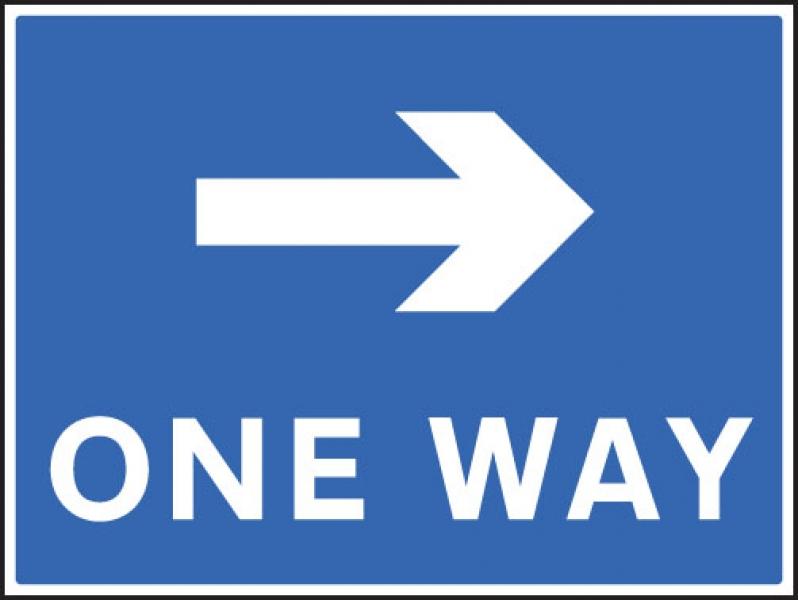 One Way Right Traffic Sign Aluminium 600x450mm 7508