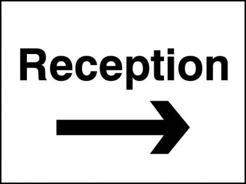 Reception Right Arrow Sign Rigid Plastic 300 X 400mm