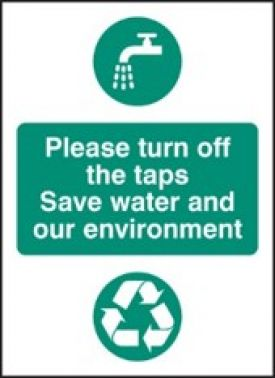 Turn Off Tap To Save Water Sign Rigid Plastic 75mm X 100mm