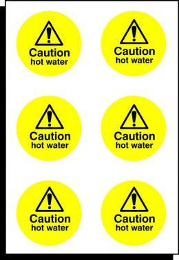 6 X Caution Hot Water S A Vinyl Labels 65mm 56045