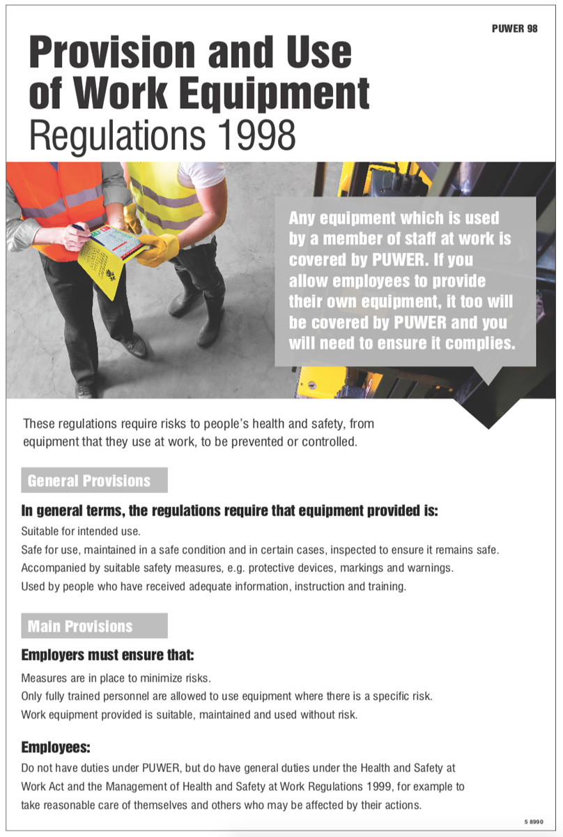 Puwer Regulations Poster Safety Signs Security Safety