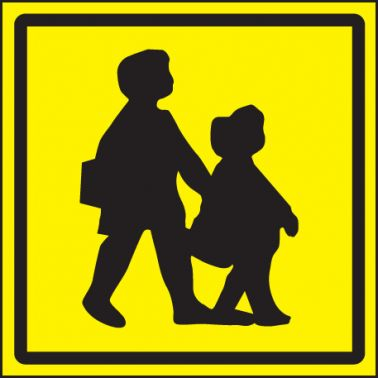 Children Crossing Vehicle Sign 300x300mm Face Adhesive
