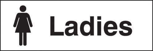 Ladies 300x100mm adhesive backed safety signs security for Ladies bathroom sign