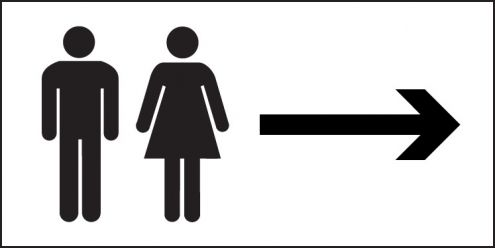 Unisex Toilets Right Sign 300x150mm Plastic Safety Signs