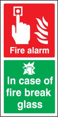 fire alarm break glass sign self adhesive vinyl 200 x