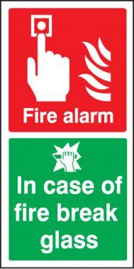 fire alarm break glass sign self adhesive vinyl 200 x