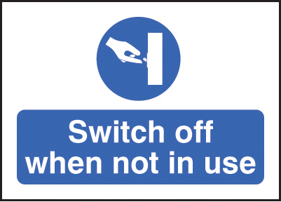 Switch Off When Not In Use Stickers 35x25mm 55040