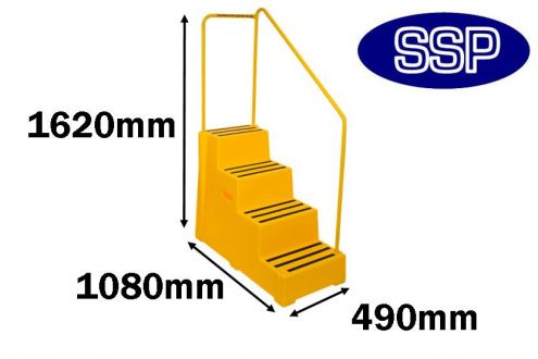 Yellow Industrial Safety Steps Horse Mounting Block With