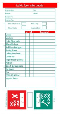 Scaffold Tower Safety Inspection Check Book