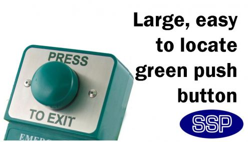 Dual Green Domed Press To Exit Button And Emergency Door