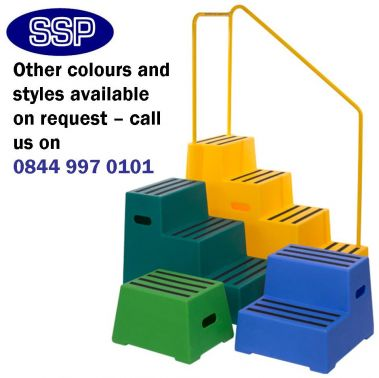 Yellow Plastic Safety Steps Portable Equine Mounting