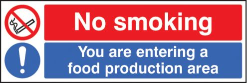 No smoking you are entering a food production area sign - Plaque adhesive cuisine ...