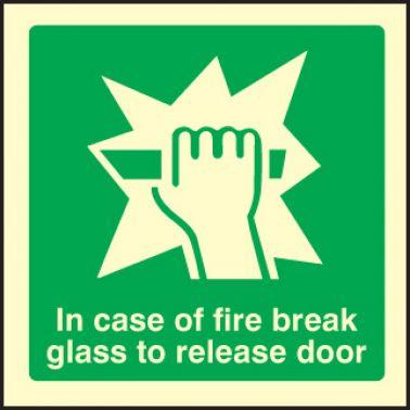Break Glass To Release Door Sign Rigid Plastic 200 X 200mm 2060