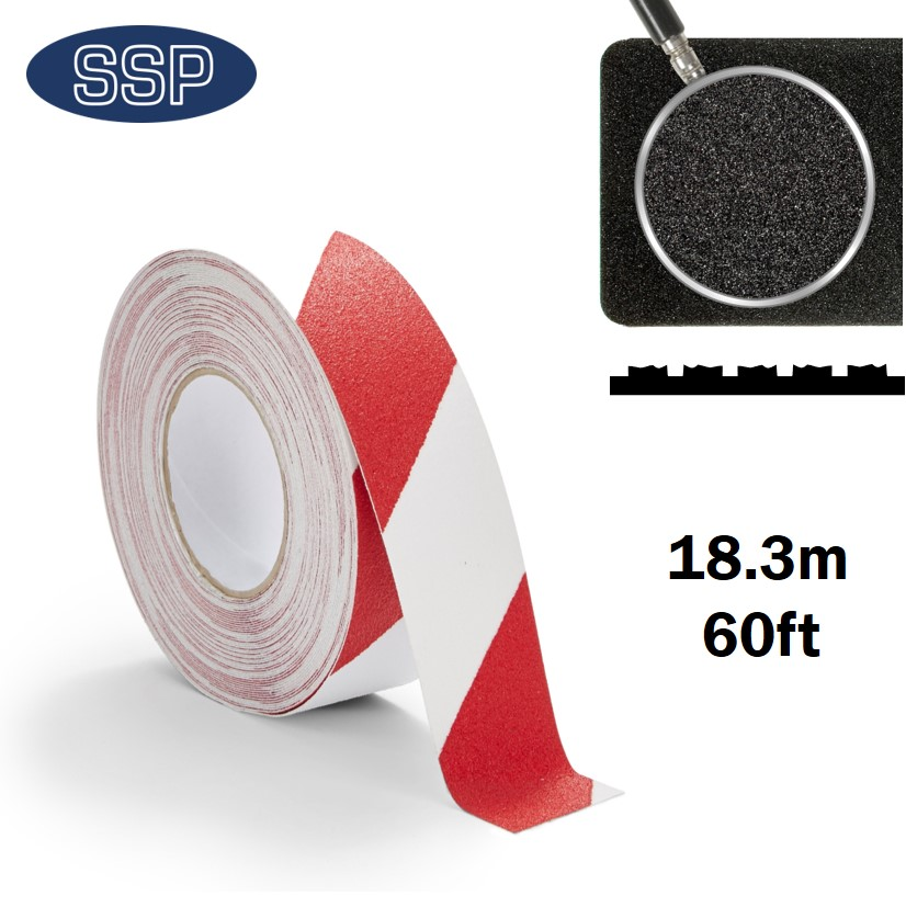 18metre Long Red and White Anti-Slip Tape for Floor, Steps and Decking