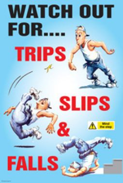 Watch Out For Slips Trips And Falls Humorous Cartoon