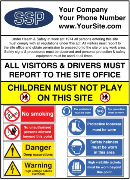 Personalised Multi Message Construction Site Safety Board 1mm Plastic 900x1200mm Ssp Direct