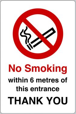 No Smoking Within 6 Metres Of This Entrance Sign Ssp Direct