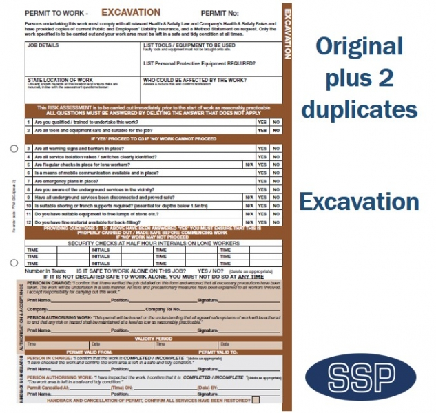 Excavation Permit To Work Self Duplicating Forms