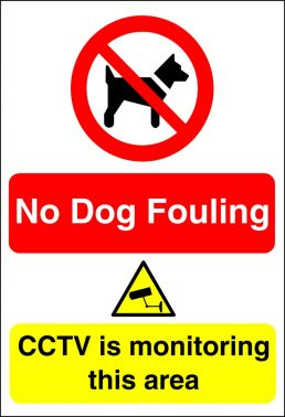 no dog fouling cctv sign aluminium with channelling for post mounting 400x300mm