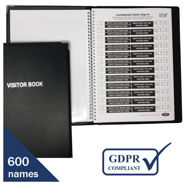 Hard backed Sign-in Book with Data Protection Compliant Blacked Out ...
