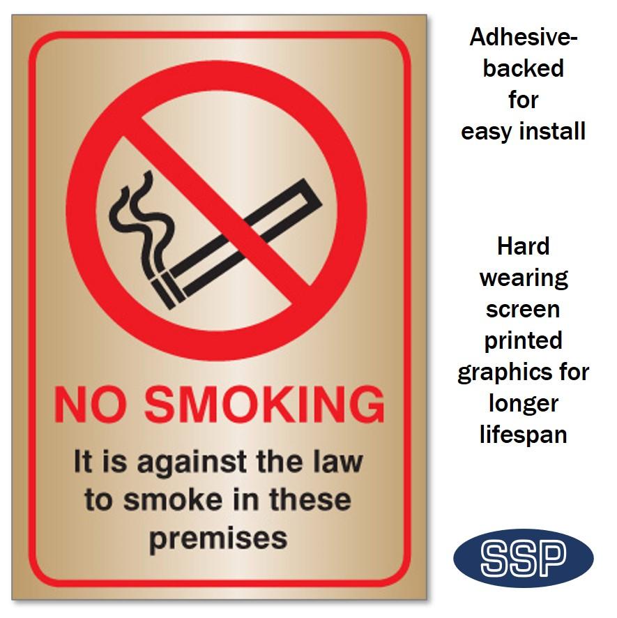 no smoking sign brass