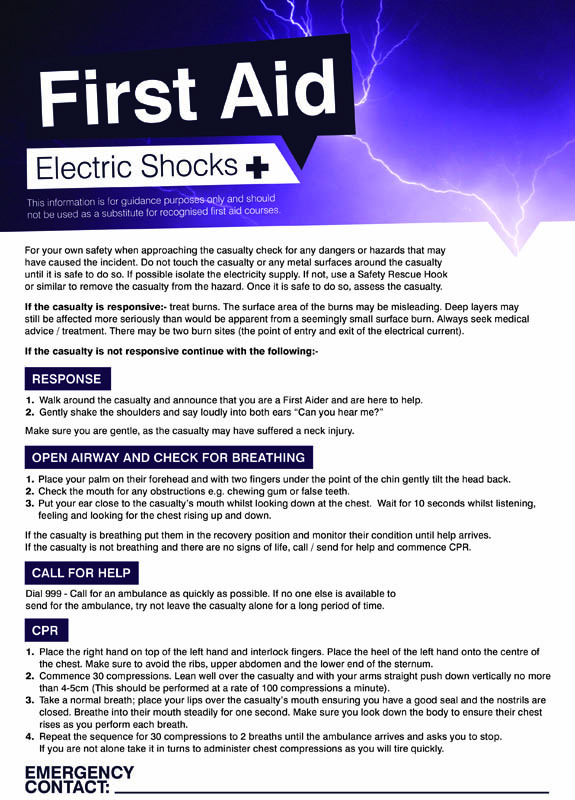 Electric Shock First Aid Safety Poster
