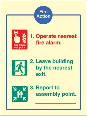 Fire assembly action sign