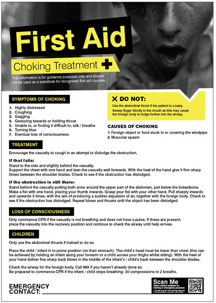 Choking First Aid Safety Poster