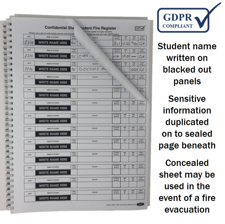 GDPR Compliant Confidential School Sign in / Sign Out Book