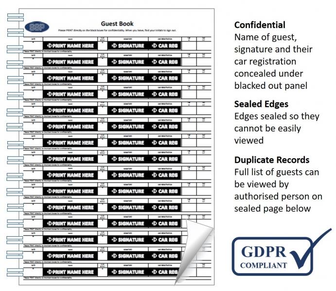 Data Protection GDPR Compliant Guest Book Hidden Names | Car Reg