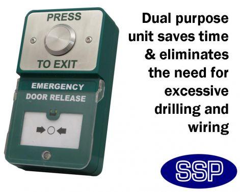 Dual Press To Exit Button And Emergency Door Release Break